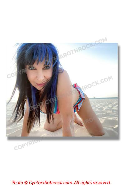 Cynthia Rothrock Autographed Beach photo